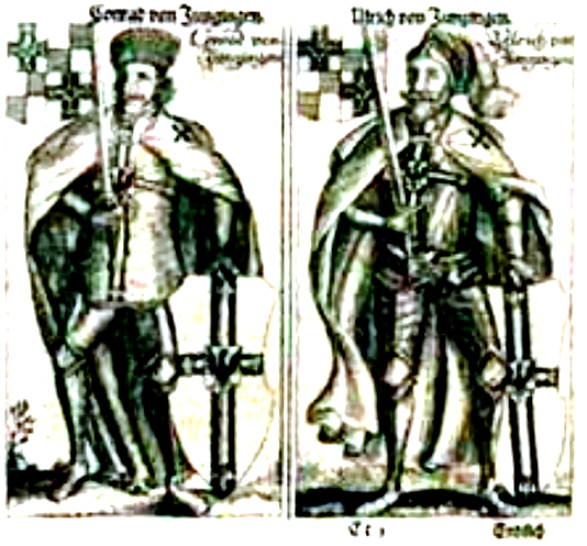 Рыцари Тевтонского ордена, на средневековой гравюре из Пруссии.