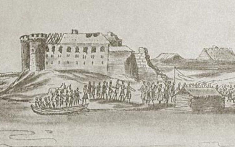 Увеличенный фрагмент гравюры с изображением руин замка Царевич-Дмитриев