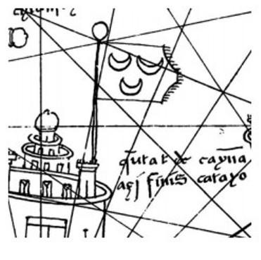 Увеличенный фрагмент средневековой карты. Это флаг Чины (Китая).