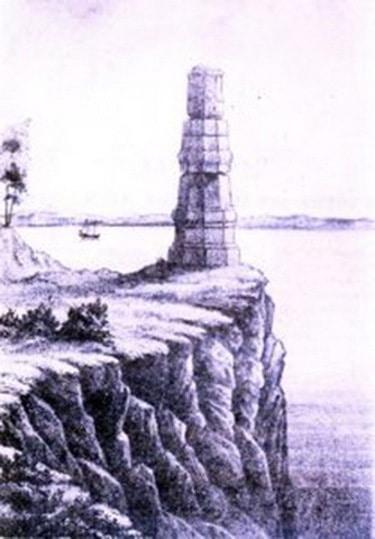Каменная колонна на Тырском утесе Амура. Рис. Г.М. Пермикина, 1858 год