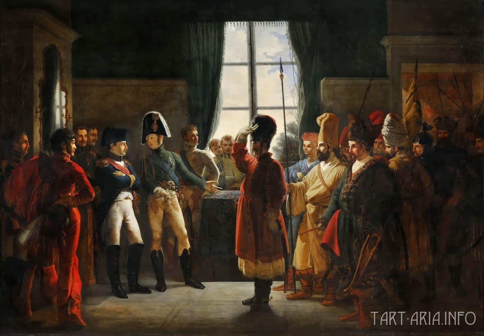 Пьер-Ноласк Бержере. «Александр I знакомит Наполеона с калмыкскими и башкирскими казаками своей армии 3 июля 1807 года».