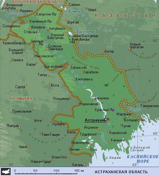 карта Астраханской области
