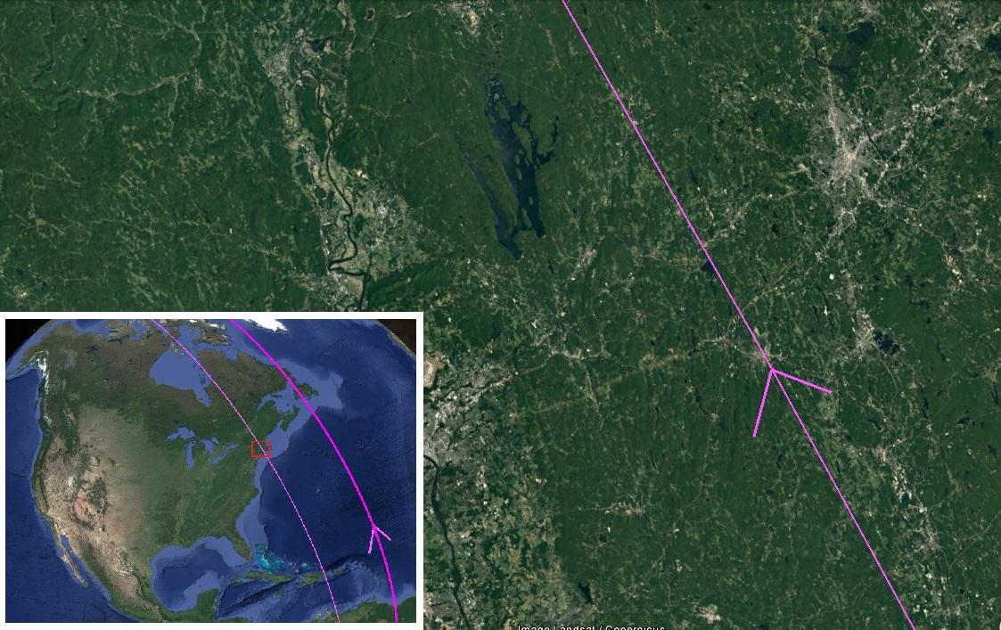 Карта. Сдвиг полюсов. Атлантическое побережье Северной Америки следы потока