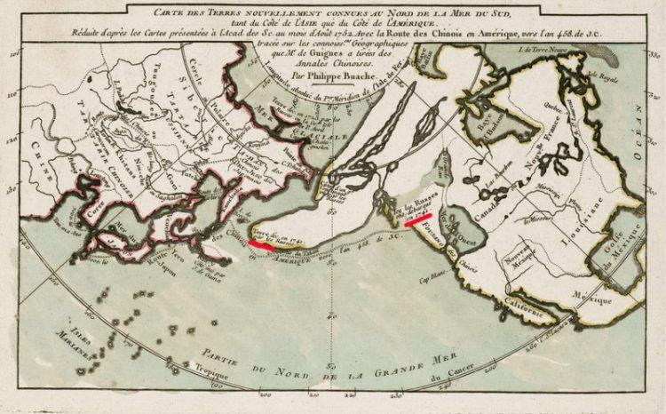 Карта. Сдвиг полюсов. Берингов пролив и Северная Америка
