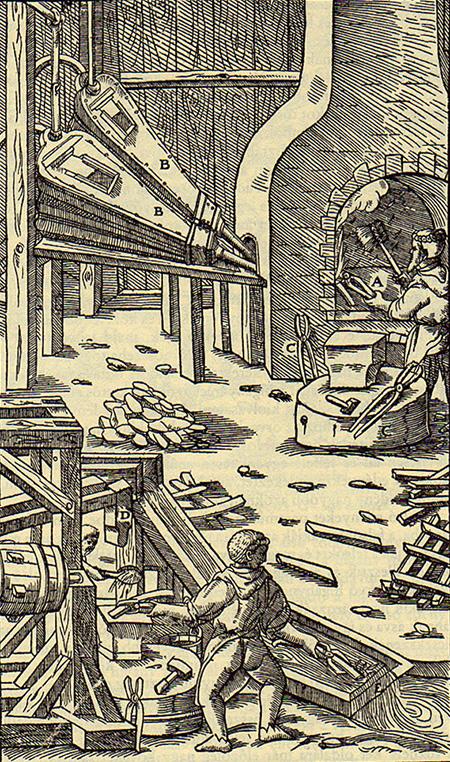 Гравюра из книги «De re metallica» Георгия Агриколы, 1556 год