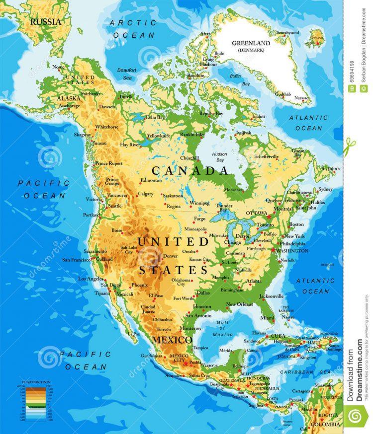 Карта. Сдвиг полюсов. физическая-карта-северной-америки