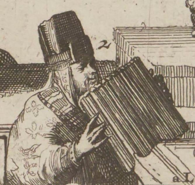 Музыкант играет на кугиглах во время ярмарки в Тартарии. Фрагмент гравюры восемнадцатого века.