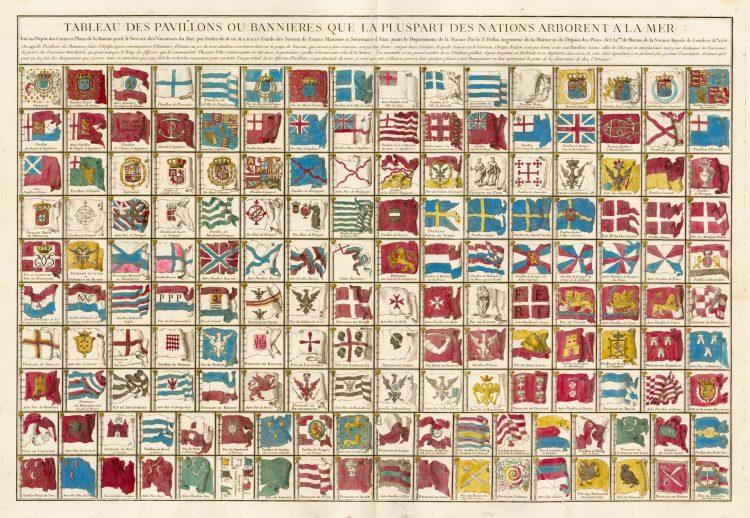 Tableau des pavillons ou Bannières que les vaisseaux des tout les nations arborent sur le mers 1765
