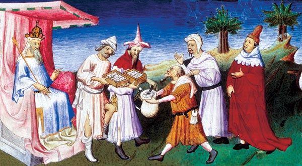 """Миниатюра из """"Книги о разнообразии мира"""" М.Поло. Хан Хубилай принимает дары Апостола (папы) Римского"""