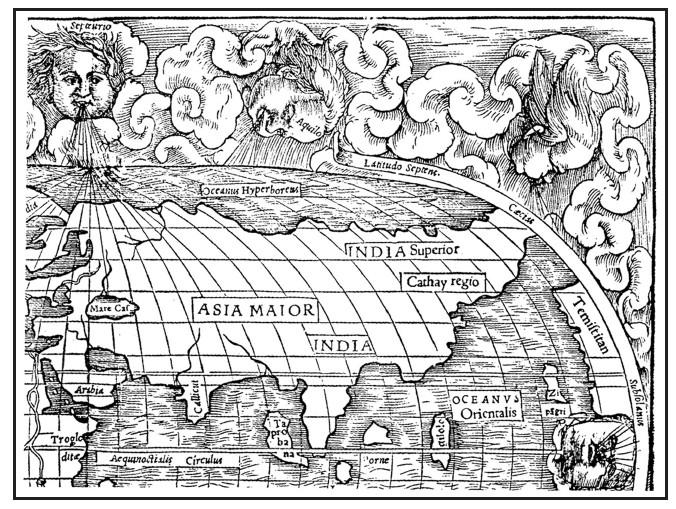 Фрагмент карты Клавдия Птолемея. II в.н.э.
