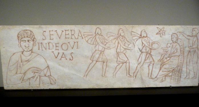 Плита из песчаника, с изображением сцены принесения даров волхвами. Кёльн, предположительно конец XII века.