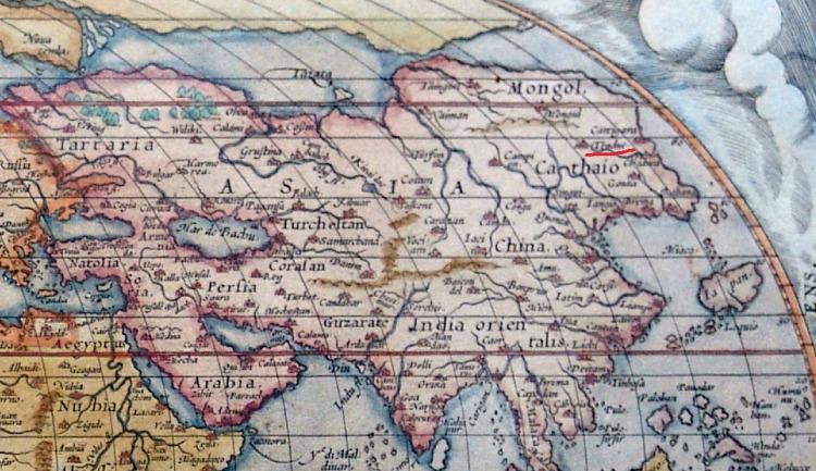 Фрагмент карты Абрама Ортелия 1572г. Та же сетка координат, и даже город Тендук в Тартарии ясно читается.
