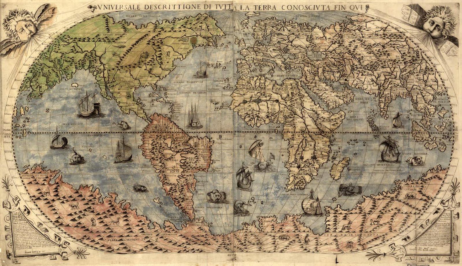 Сдвиг полюсов. Старинные карты. old-world-map