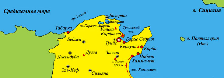 фрагмент карты Туниса