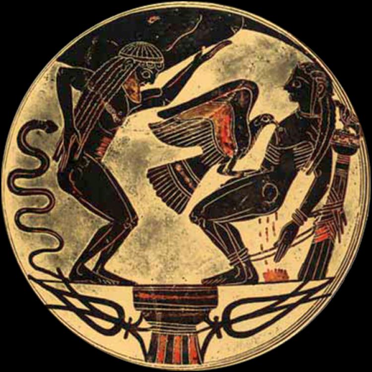 Орел клюет печень Прометея. Изображение на вазе