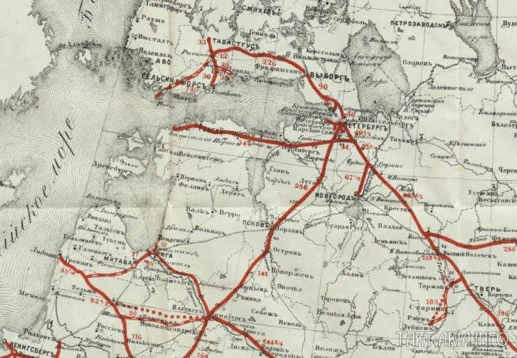карта почтовых сообщений Российской империи 1917 года