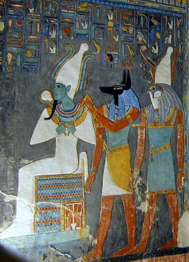 Осирис, Анубис и Гор. Фрагмент росписи гробницы Хоремхеба.