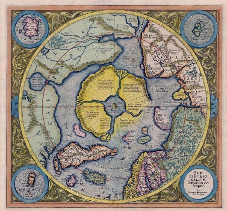 Арктический континент на карте Герарда Меркатора 1595 года.