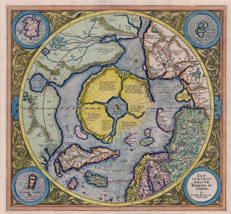 The Arctic on Gerardus Merkator's 1595 map. Source.