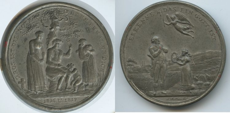 Tin medal with colorful copper engravings. On the famine and dearness 1817. Source