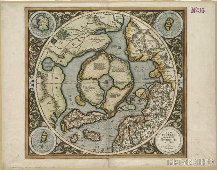 Фрагмент Северной Земли (Septentrio nalium Terrarum), Меркатор, 1595г. Источник
