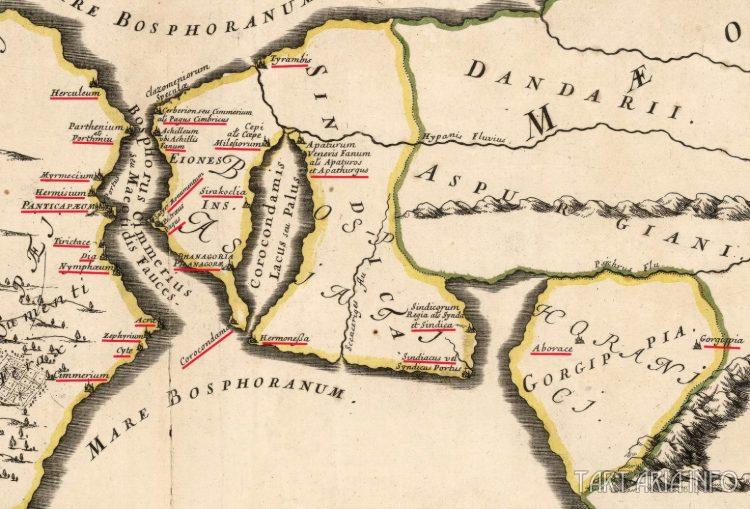 Босфор Киммерийский и Босфорское королевство, географическая коллекция Гийома Сансона  источник