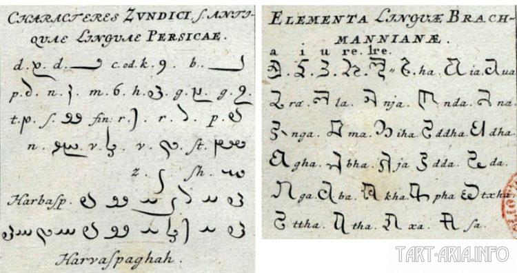 Персидский язык и язык Брахманов или Брахми
