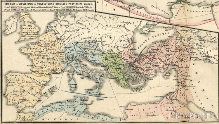 Фрагмент карты Римской империи из атласа «Atlas antiquus. Zwölf Karten zur Alten Geschichte» изд. 1870 г., Государственный Архив в Познани. Источник