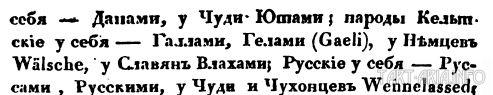 Фрагмент описания из его книги «Славянские древности» Том 1. Кн. 1, 1837г. , как сами народы себя называли и как их называли другие.