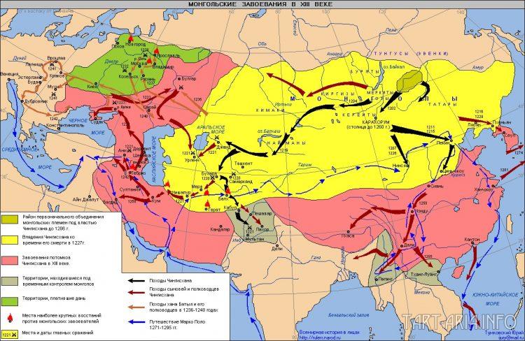 Схема монгольских завоеваний, источник