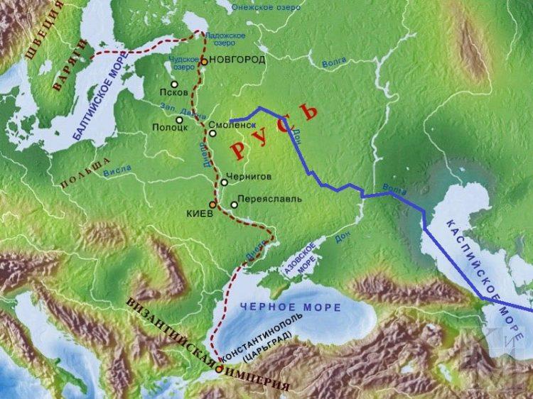 Донской путь (на карте выделено синим)