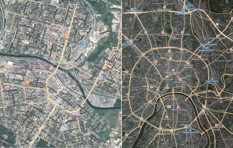 Планировка городов: слева Тула, справа Москва