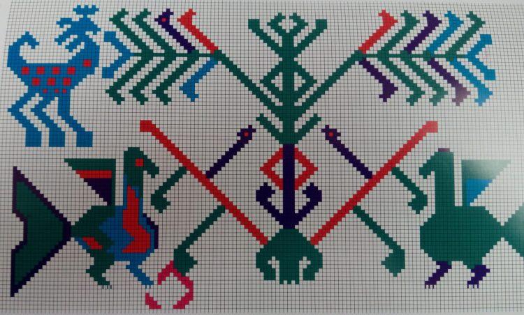 Фрагмент занавески-коврика. Западная Сибирь. Богиня с поднятыми руками в виде древесных ветвей, сидящая или стоящая на Ящере в окружении птиц и зверей.