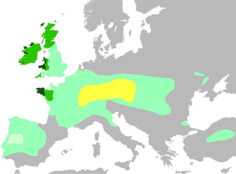 Современная карта распространения кельтов ранее и сейчас. Источник