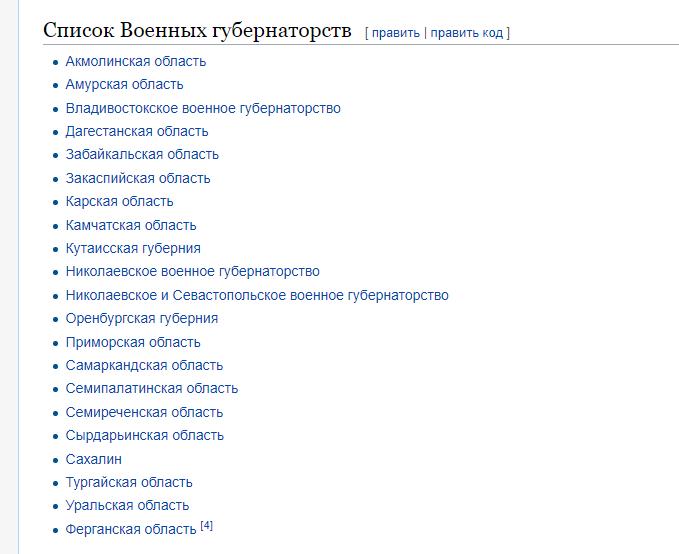 Список военных губернаторств Российской Империи в 19-м веке