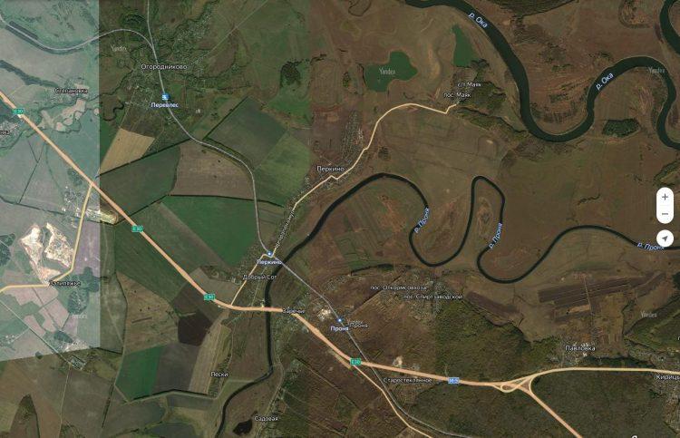 Впадение реки Проня в Оку, в районе Спасск-Рязанского