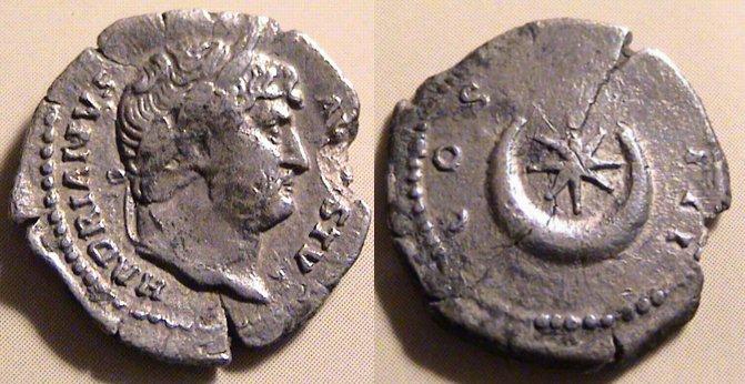 Римская монета с императором Адрианом, 117-138 гг н.э..