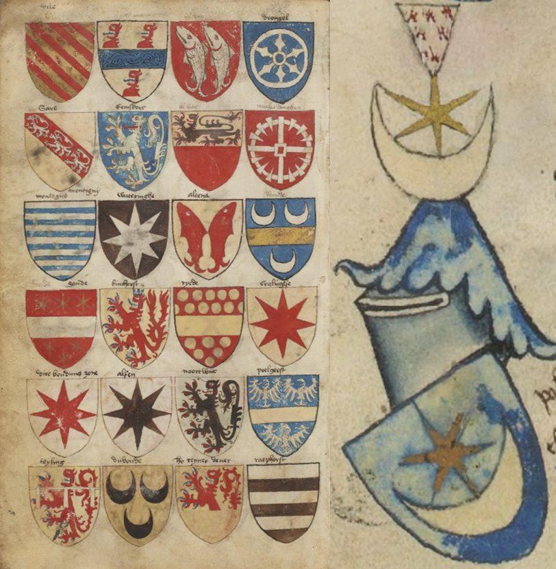 «Ancien armorial colorié, où sont figurés les blasons de différents princes et seigneurs de France, Allemagne, Flandre, Angleterre, Espagne, Italie, etc» (15 век).